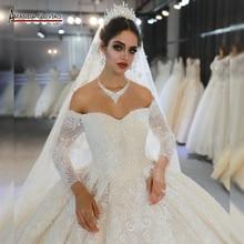 Vestido de novia de trouwjuck mariage 2020 de las mangas del hombro vestido de novia fotos reales mismo 100%