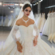 trouwjurk mariage bridal gown 2020 off the shoulder sleeves wedding dress real photos same 100%