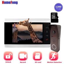 Видеодомофон Homefong 1200TVL HD, система связи с дверным звонком и камерой с функцией записи, широким углом обнаружения движения и ночным видением