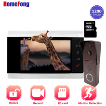 Homefong 1200TVL HD فيديو باب الهاتف نظام اتصال داخلي مع تسجيل الجرس كاميرا زاوية واسعة كشف الحركة للرؤية الليلية