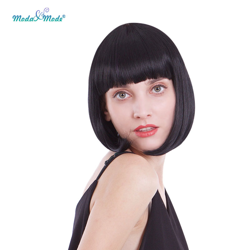 Mada&Mode Straight Black Synthetic Wigs With Bangs For Women Medium Length Hair Bob Wig Heat Resistant Bobo Cosplay Wigs
