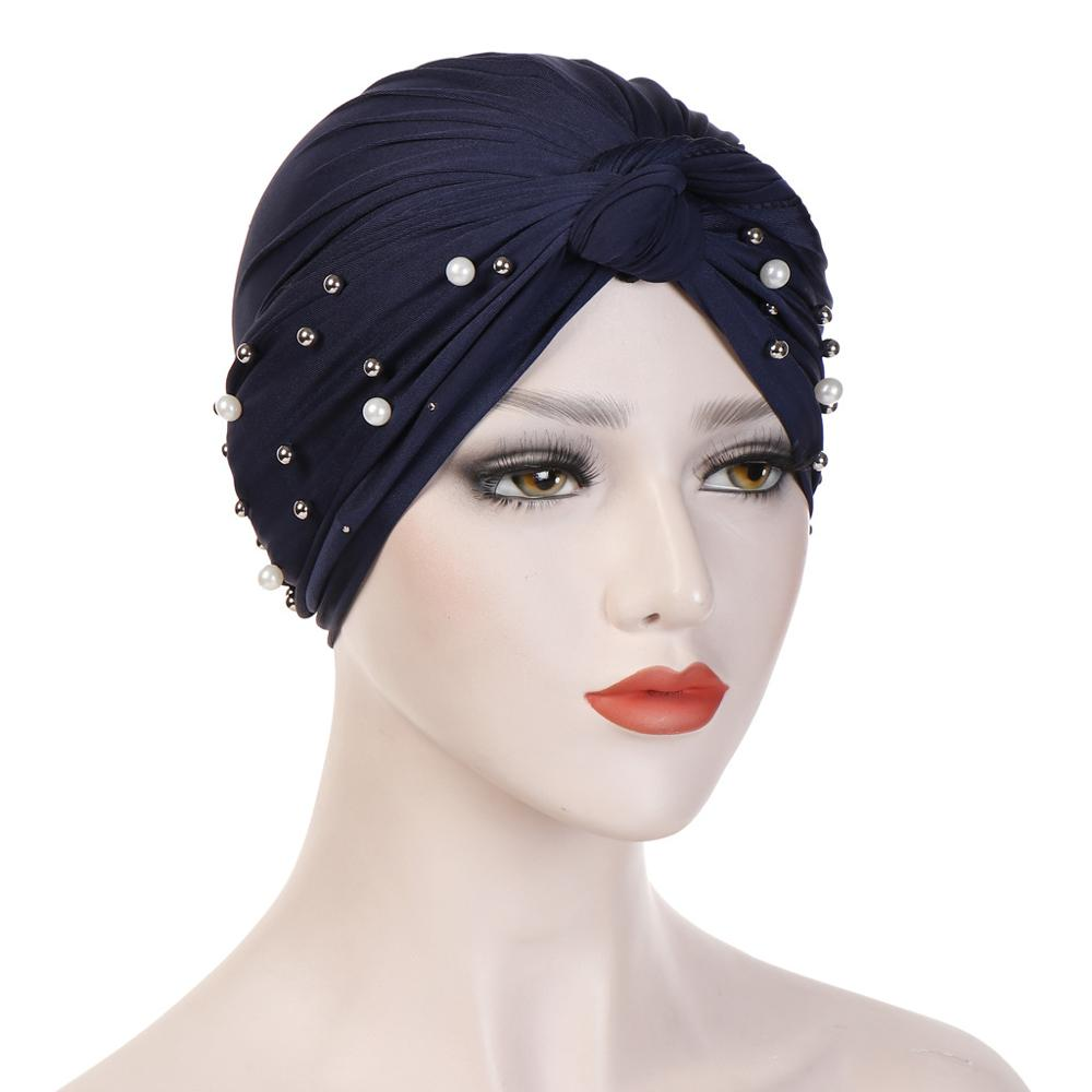 Muslim Women Beading Turban Hijab Caps Islamic Headscarf Bonnet India Caps Wrap Head Scarf  Turbante Mujer Turban Femme Musulman