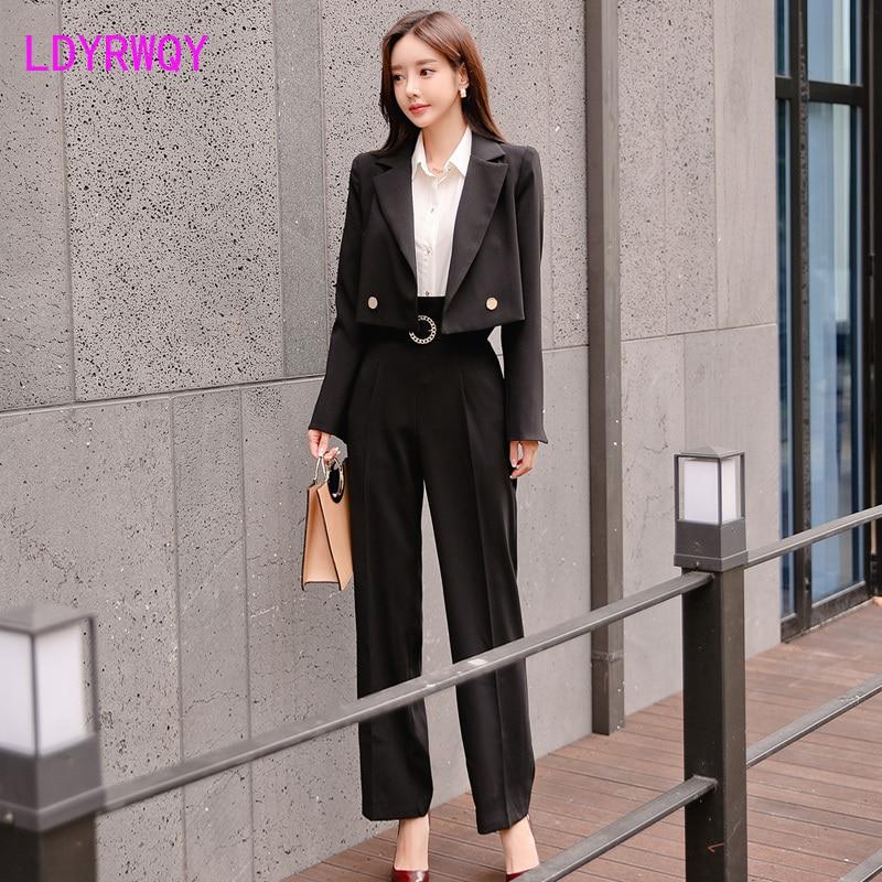 2019 autumn and winter fashion temperament lapel suit jacket + high waist round buckle straight pants suit