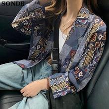 Новинка осени 2020 женское винтажное пальто с красивым принтом