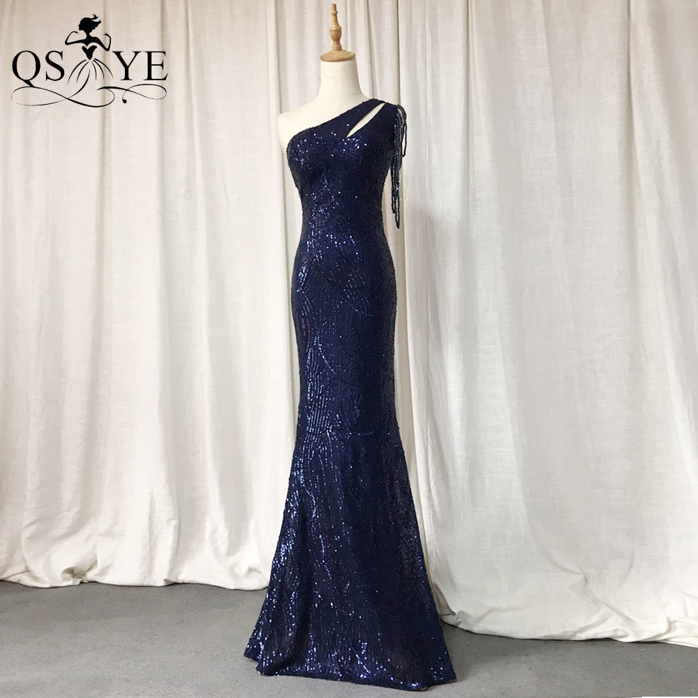 Sparkle Navy Prom Dresses 2021 Sequin One Shoulder Mermaid Evening Gown Beading Straps Sequin Pattern Formal Party Gown Blue New