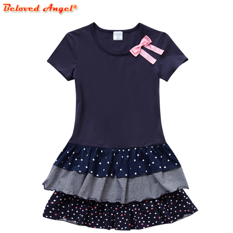 Summer New Fashion Baby <font><b>Girls</b></font> Kids Short Sleeve <font><b>T</b></font>-<font><b>shirt</b></font> Patchwork <font><b>Dress</b></font> Short <font><b>Dresses</b></font> Princess TUTU <font><b>Dress</b></font> for Party Wedding image
