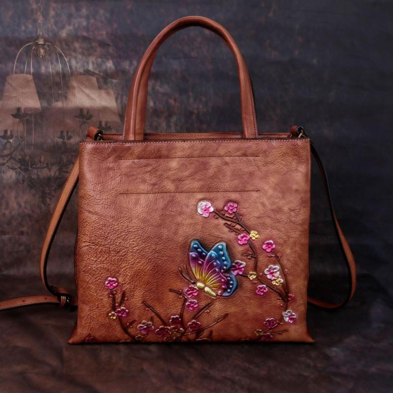Retro Large Capacity Luxury Handbags Women Bags 2020 New Genuine Leather Floral Casual Tote Shoulder & Crossbody Bags