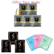11Pcs mixed 24K Gold mask seaweed detox tea Collagen black Face Mask Moisturizing Anti-Aging Facial Masks korean skin care