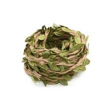 Corde en rotin artificiel, feuilles vertes, lierre de vigne, ficelle en Jute naturelle hessienne, bricolage artisanal Vintage pour décoration de fête de mariage, 2/5M