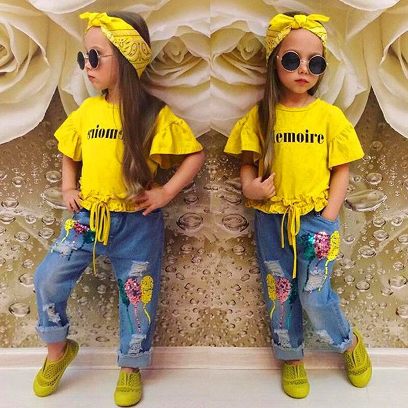 Baby Girl Clothes Set Flare Short Sleeve O Neck Letter Tops Embroidered Jeans Headband 3PCS Little Girls Clothing 9M 7T in Clothing Sets from Mother Kids