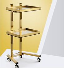 New stainless steel beauty salon cart haircut haircut folding tool cart hair salon special hot dyeing car high end beauty beauty wooden cart beauty cart solid wood tool