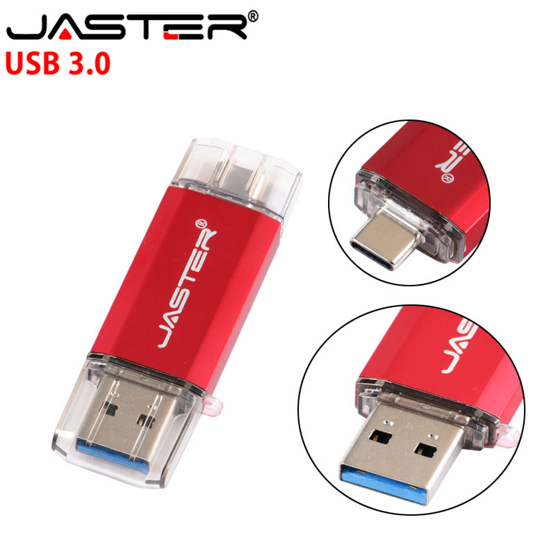 JASTER USB 3.0 OTG USB Flash Drives  & Type-C & Micro USB  128GB 64GB 32GB 16GB 8GB 4GB Pendrives Dual Pen Drive Free Shipping