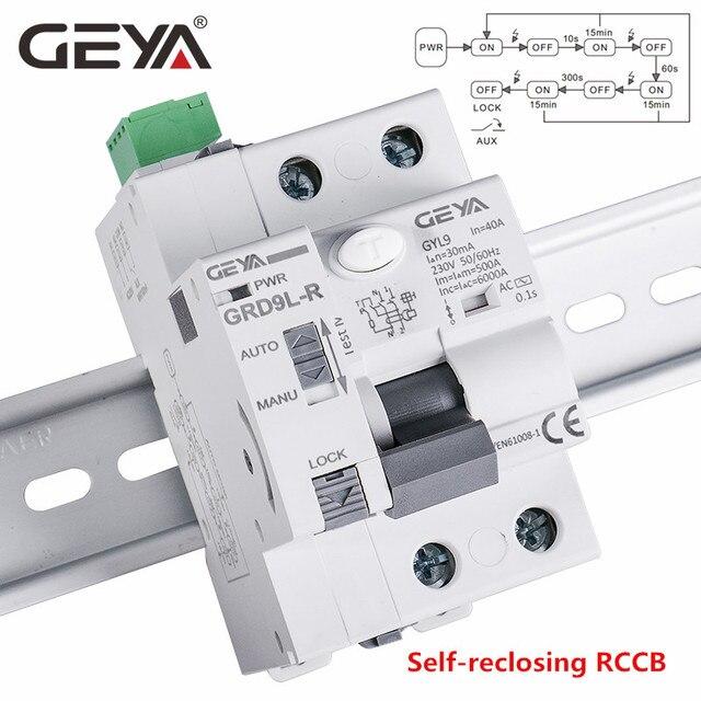 GEYA 6KA ELCB RCCB 2PอัตโนมัติReclosingอุปกรณ์รีโมทคอนโทรลCircuit Breaker Recloser RCD 40A 63A 30mA