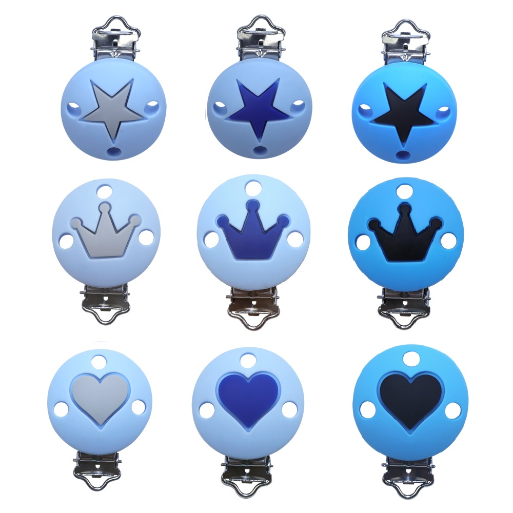 BOBO.BOX 1Pc Crown Heart Stars Silicone Beads Pacifier Clips For Diy Baby Teething Necklace Dummy Holder Baby Teether