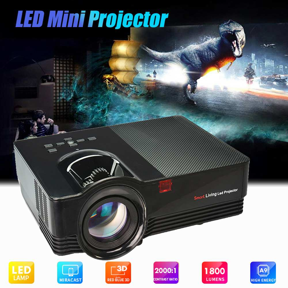 Portable MINI EU LED HD Projector 1800 lumens 1080P LCD Projector Home Theater 1920*1080P support 4k