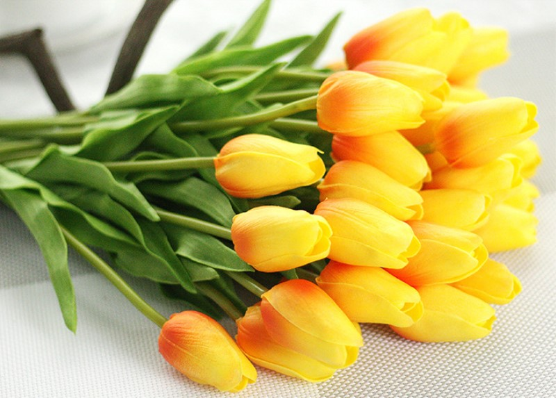 1PC PU Mini Tulips Artificial Flowers For Home And Wedding Decoration Flowers 15