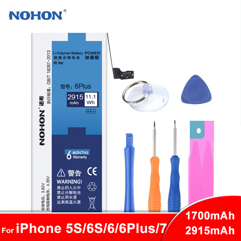 Original NOHON <font><b>Battery</b></font> For <font><b>iPhone</b></font> 6 Plus <font><b>6S</b></font> 5S 7 6Plus For iPhone6 iPhone7 <font><b>High</b></font> <font><b>Capacity</b></font> Phone Replacement <font><b>Batteries</b></font> + Free Tool image