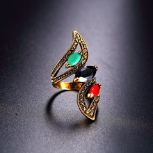 Big Water Drops Black Gold Rings For Women Plating Gold Mosaic CZ Crystal Finger Wedding Party Ring Turkey Vintage Fine Jewelry(China)