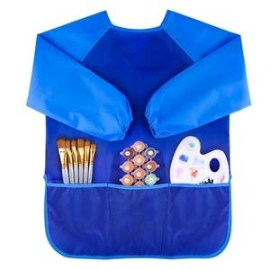 Impermeabile di Disegno Per Bambini Camicetta Per Bambini Art Grembiule Lavabile In Lavatrice con 3 Spaziosa Tasche Blu