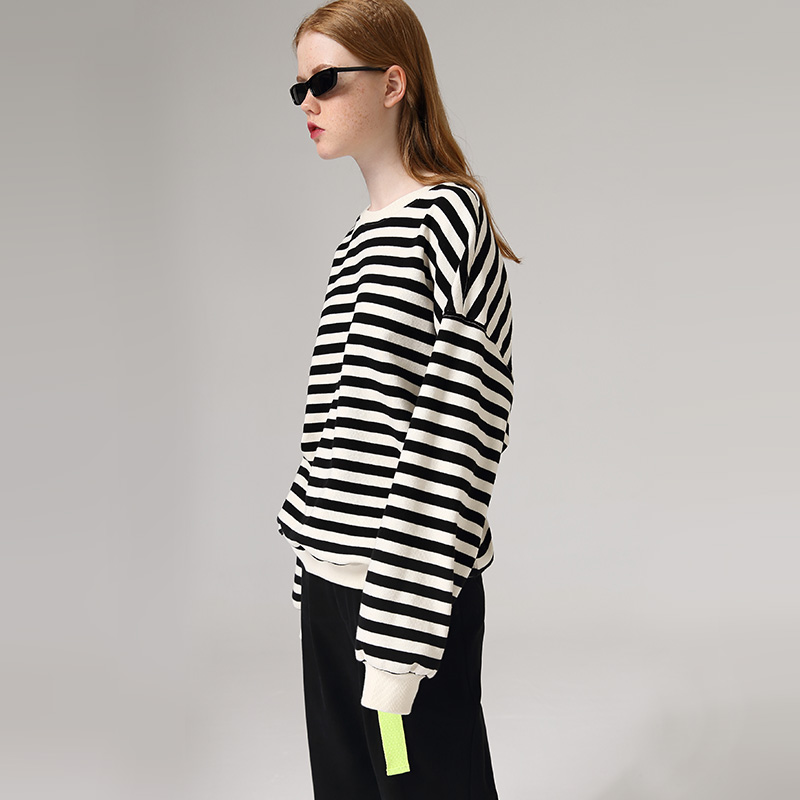 Toyouth 2020 Basic Striped Long Sleeve Spring Sweatshirts Causal Cotton Round Neck Hoodies Women Tops