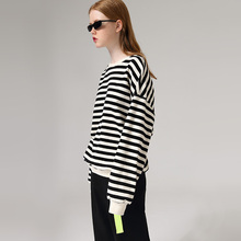 Toyouth 2020 Basic Striped Long Sleeve Spring Sweatshirts Causal Cotton Round Ne