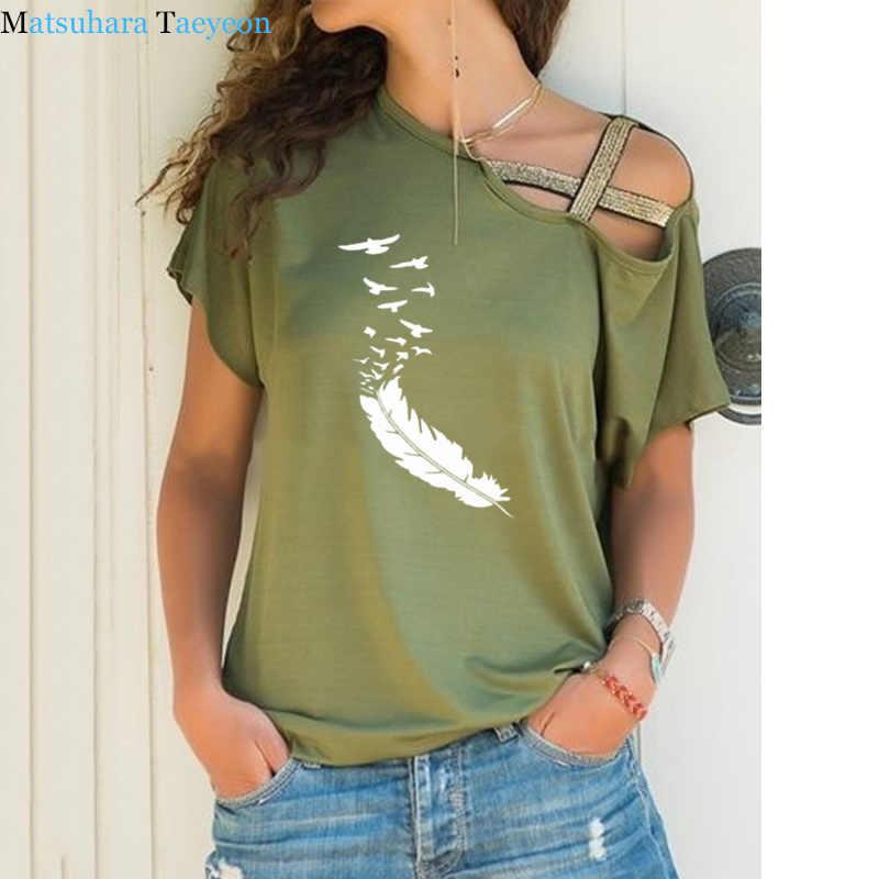 여름 2020 여성 tshirt 캐주얼 반소매 티셔츠 섹시한 불규칙한 깃털 프린트 티셔츠 루스 플러스 사이즈