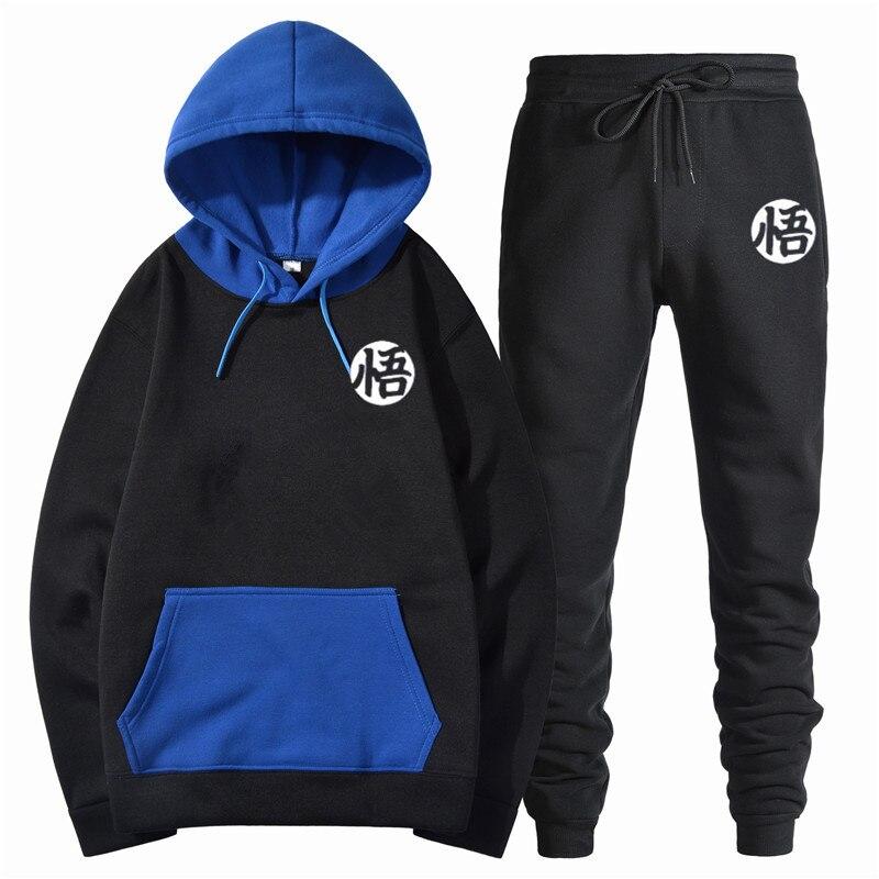 Dragon Ball Anime Fashion Print 2019Spring Autumn Fleece Sweatshirts For Men Hoody+Pants Brand Tracksuit Men's Sportswear Outfit