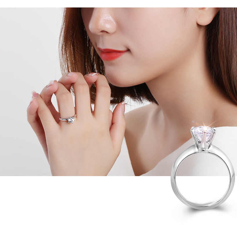 925 فضة تاج ستة مخلب واحد الماس واحد قيراط المرأة خاتم بسيط جدا لايف بيع الأحمر ركوب الفضة 925 خاتم رجالي