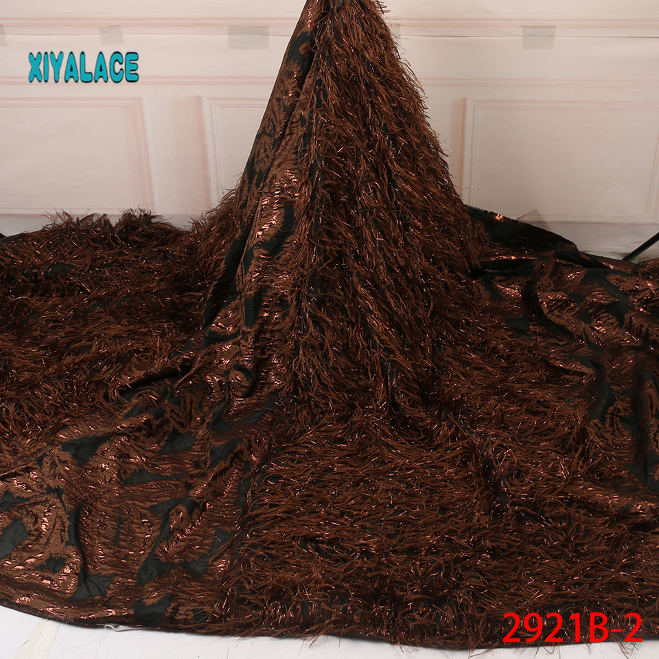 Brocade Lace With Feather African Lace Fabric Fashion Wedding Dress Jacquard Lace For Nigerian Lace Fabric YA2921B-2