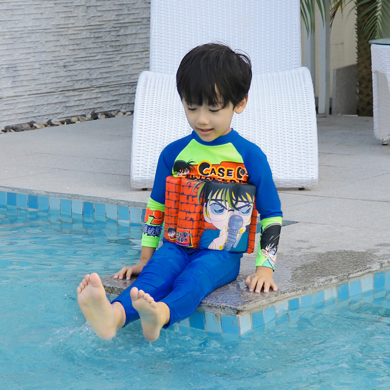 One-piece Swimming Suit BOY'S Sun-resistant Set Large Floating Rod Deconstructable Boy Training Swimming Pool Big Boy Swimwear