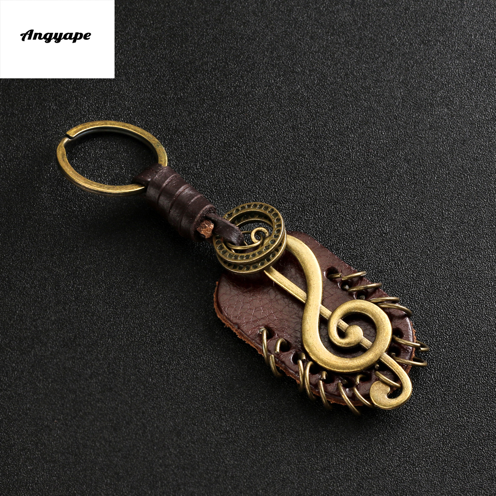 Angyape 2019 Fashion vintage brown Genuine Leather wing compass Music Symbol keychain handwork alloy Accessories men key chain