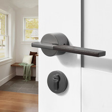 Black Leather Door Handle Door Lever Set Bedroom Door Handles for Interior Doors Bathroom Lock Set