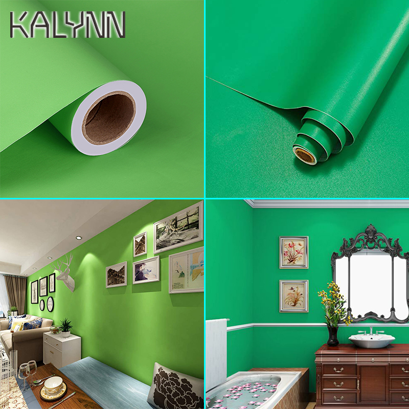 Matt Green Self Adhesive Waterproof Wallpaper For Kitchen Countertop Cabinet Furniture Decorative Contact Paper Bedroom Stickers