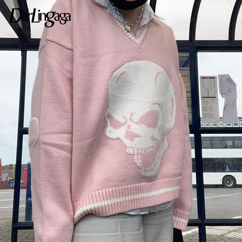 Darlingaga Gothic Skull Print Autumn Winter Woman Sweaters Fashion Loose Y2K Pullover Harajuku Knitted Sweater Ladies Pull Femme