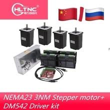 Kit electrónico de enrutador CNC, 4 uds, controlador DM542 + 4 uds, motor cc NEMA23 425ozin + fuente de alimentación 350W36V + tarjeta de movimiento mach3 de 4 ejes