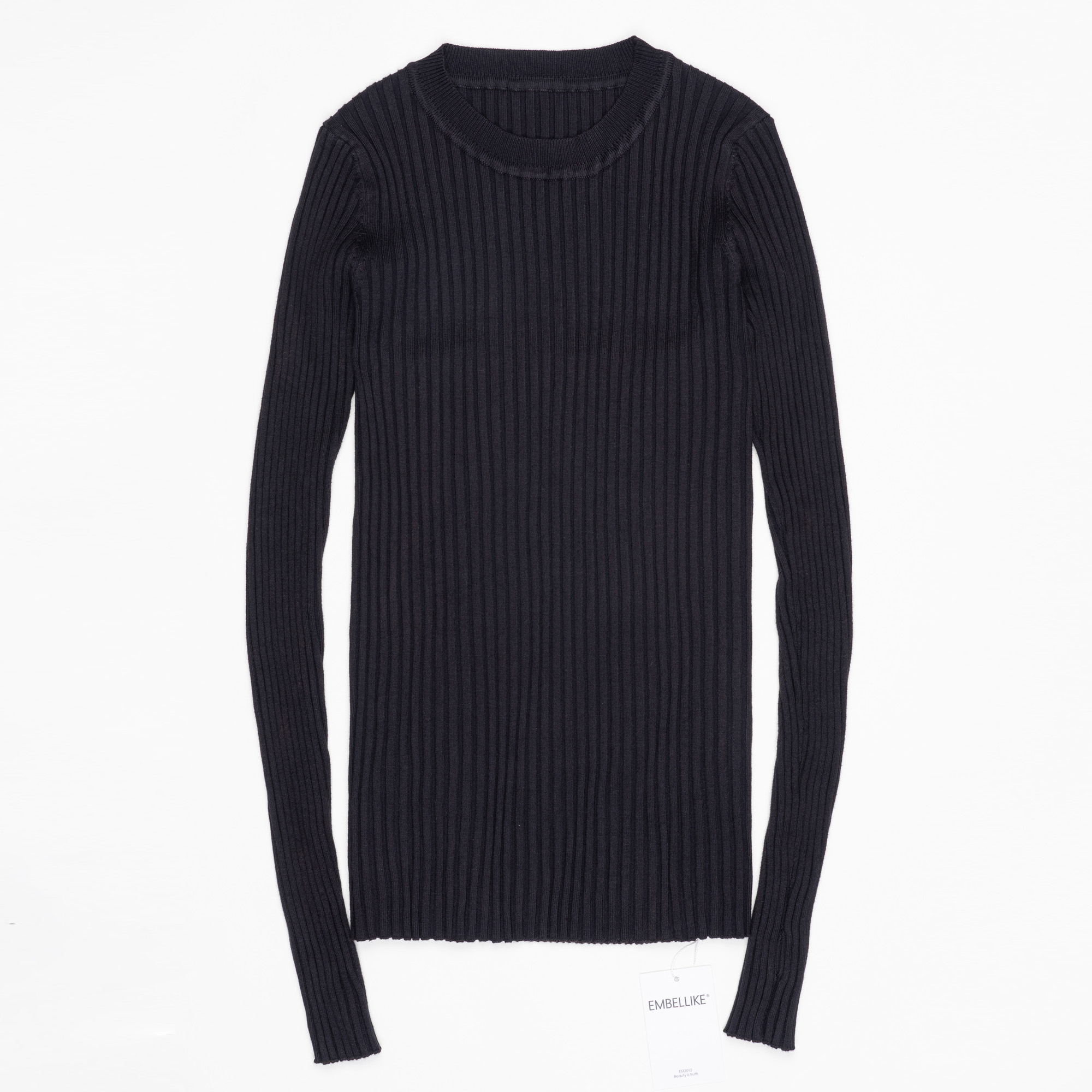 Women Sweater Pullover Basic Ribbed Sweaters Cotton Tops Knitted Solid Crew Neck With Thumb Hole 14