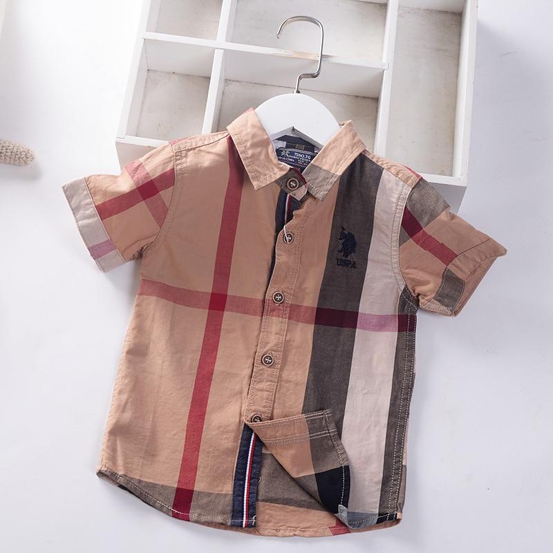 100% Cotton Boys Summer Shirts British Style Quality Kids Tops clothes Uniform Turn Down Collar