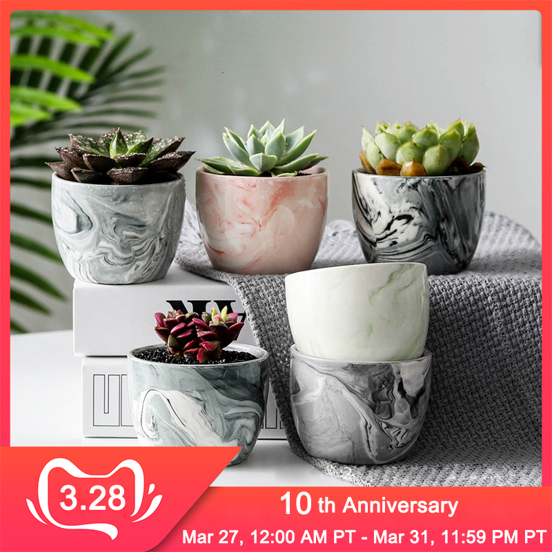 Simple Home Ceramic Flower Pot Multicolor Marble Pattern Fleshy Flower Pot Home Bird Spikes Gardening Christmas Decorations