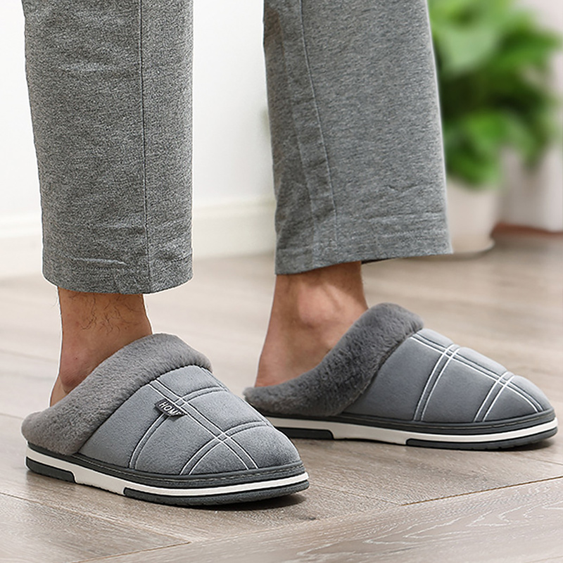 Men's Slippers Home slippers Size 50 Warm Antiskid Sturdy Sole House shoes for men Gingham Velvet Suede Fur slippers 1