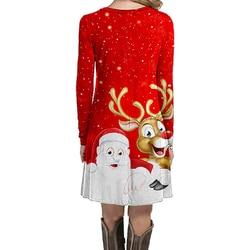 Fashion Christmas Dress Women Winter Dresses Women 2019 Winter New Christmas Print Mini Dress Long Sleeve O-neck Women Clothes 3