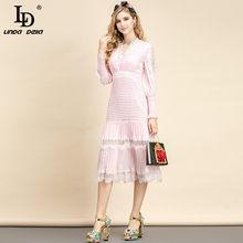 LD LINDA DELLA Fashion Runway Summer Party abito longuette donna scollo a v pizzo scava fuori drappeggiato rosa dolce abito da festa abiti