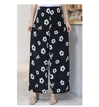 In the summer of 2019 new large size ladies floral casual pants fat MM loose thin section tall waist chiffon wide-legged