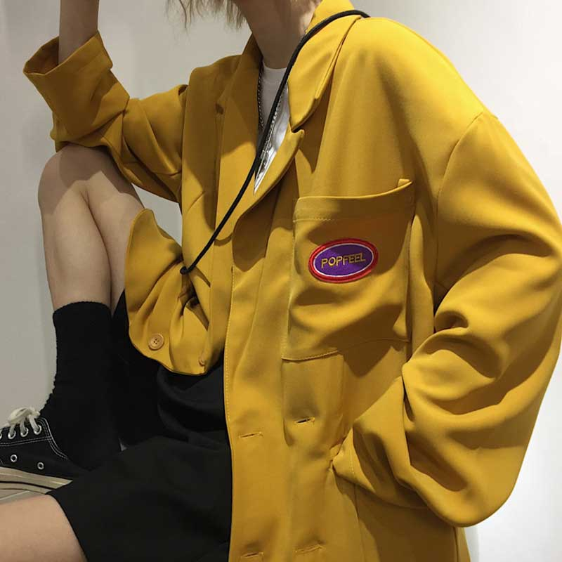 Letter Embroidery Japanese Harajuku Solid Jacket Women Outerwear Spring Autumn Cardigan Buckle Blazers Preppy Letter Embroidery