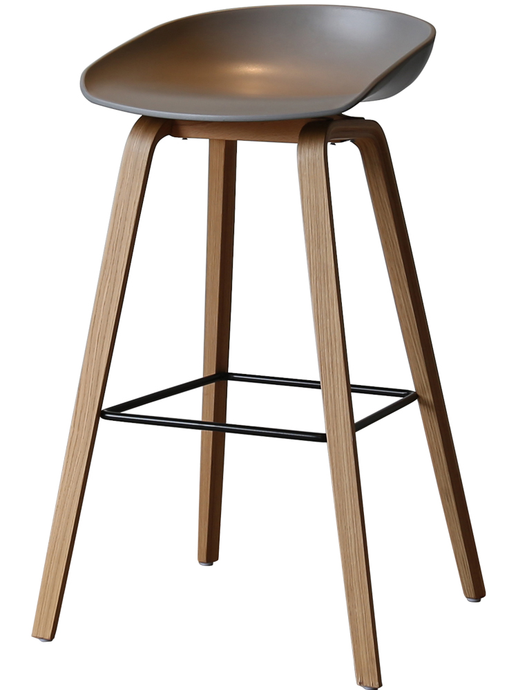 Contemporary And Contracted Solid Wood Bar Stool Nordic Creative High Stool Bar Stool Household High Chair At The Front Desk Cas