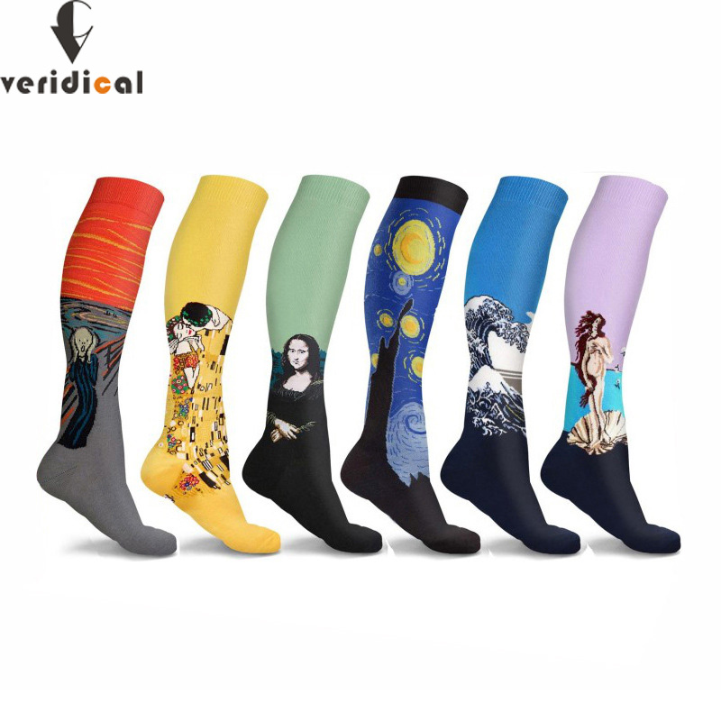 20-30 MmHg Compression Socks Mans Van Gogh Painting Creative Firm Pressure Circulation Orthopedic Support Stockings Hose Socks