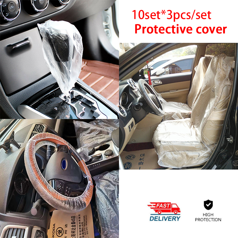 3Pcs/set Universal Car Disposable PE Plastic Seat Steering Wheel Cover Waterproof Antidust Car Repair Protective Cover Interior