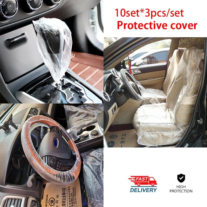 3Pcs/set Universal Car Disposable PE Plastic Seat Steering Wheel Cover Waterproof Antidust Car Repair Protective Cover Interior