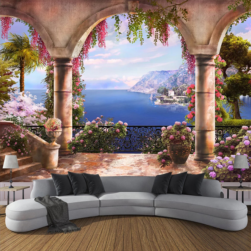 Custom 3D Photo Wallpaper Garden Balcony Sea View 3D Wall Painting Bedroom Living Room Sofa Decoration Wall Mural Papier Peint