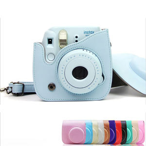 Image 2 - Colorida funda protectora para cámara de hombro para Polaroid Fujifilm Mini 8 8 + 9 Instax, funda protectora de cuero Pu para cámara