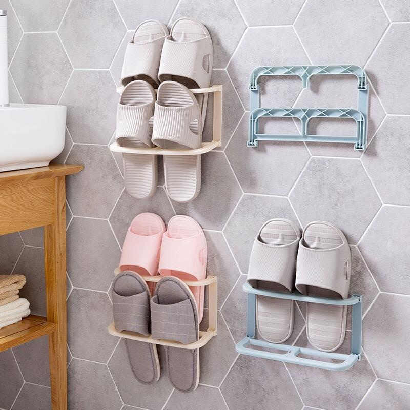Double-Layer Schoenen Rek Schoen Organizer Wall Mount Slippers Opknoping Plank Slipper Rack Holder Opvouwbare Schoenen Organizer